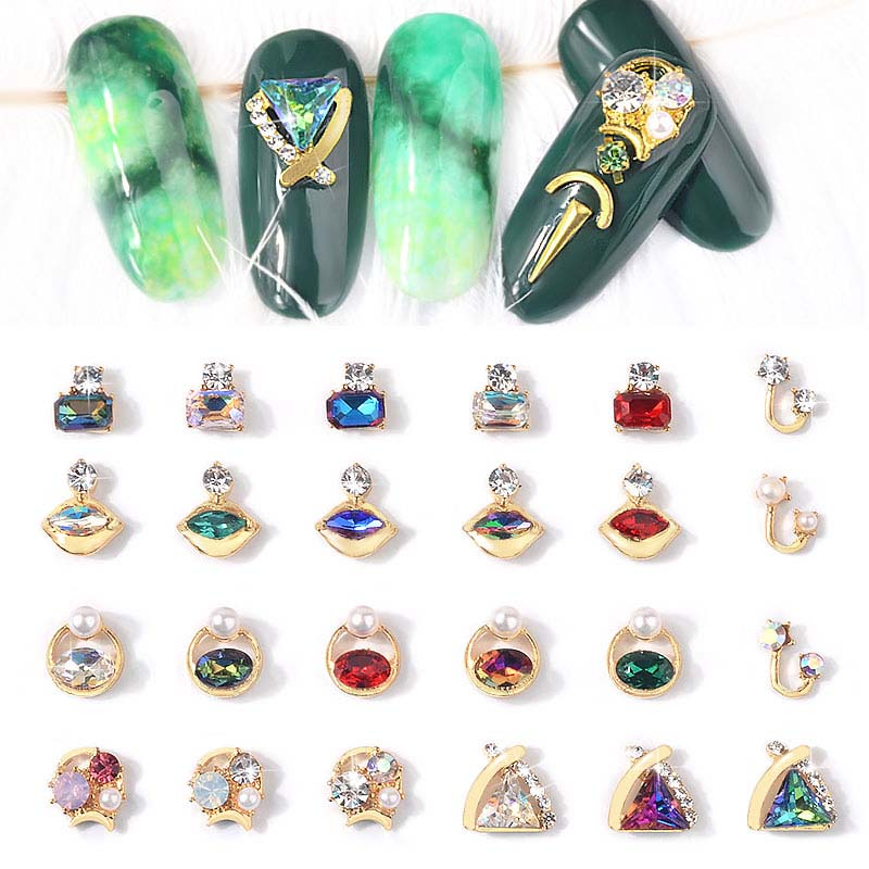 5pcs 3D Rhinestones DIY Gems New Charming Mix Nail Art Decoration Geometric Jewelry UV Gel Crystal Glitter Sequins nail art in Rhinestones Decorations from Beauty Health