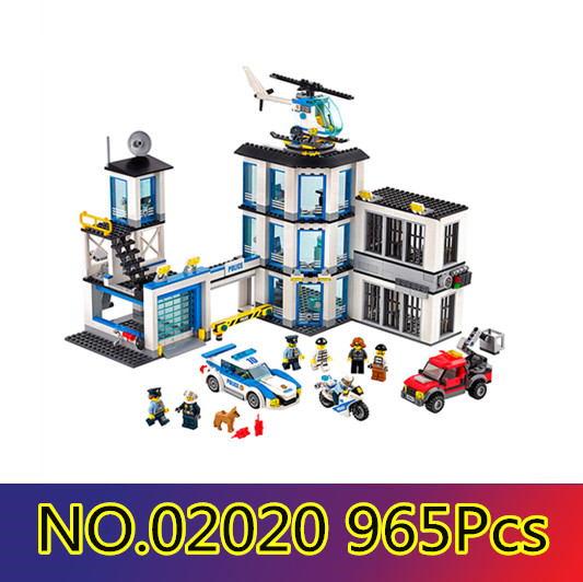 Models building toy Compatible with lego City 60141 965Pcs Police Station Building Blocks toys & hobbies birthday gift 870pcs city police station big building blocks bricks helicopter boys toys birthday gift toy brinquedos compatible with legoing