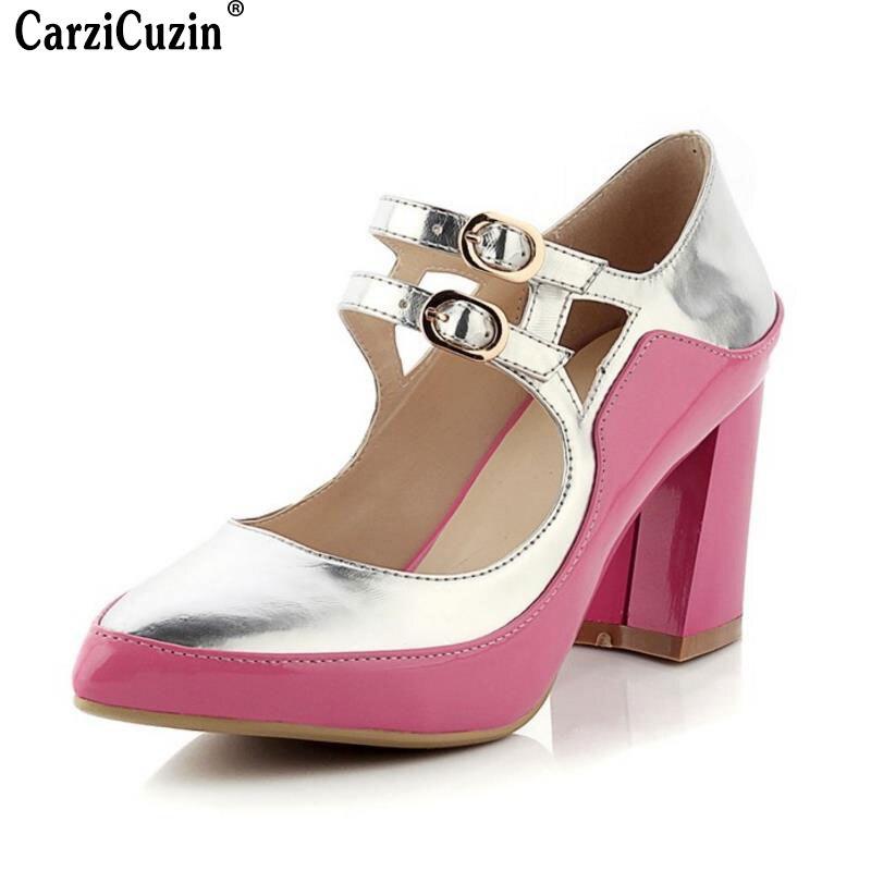 Couleur Boucle blanc Chaussures 42 Bout Pointu Parti Office Size33 Lady Peach Hauts Mixte Femmes Sangle Pompes Carzicuzin Talons Classiques Red CxodBe