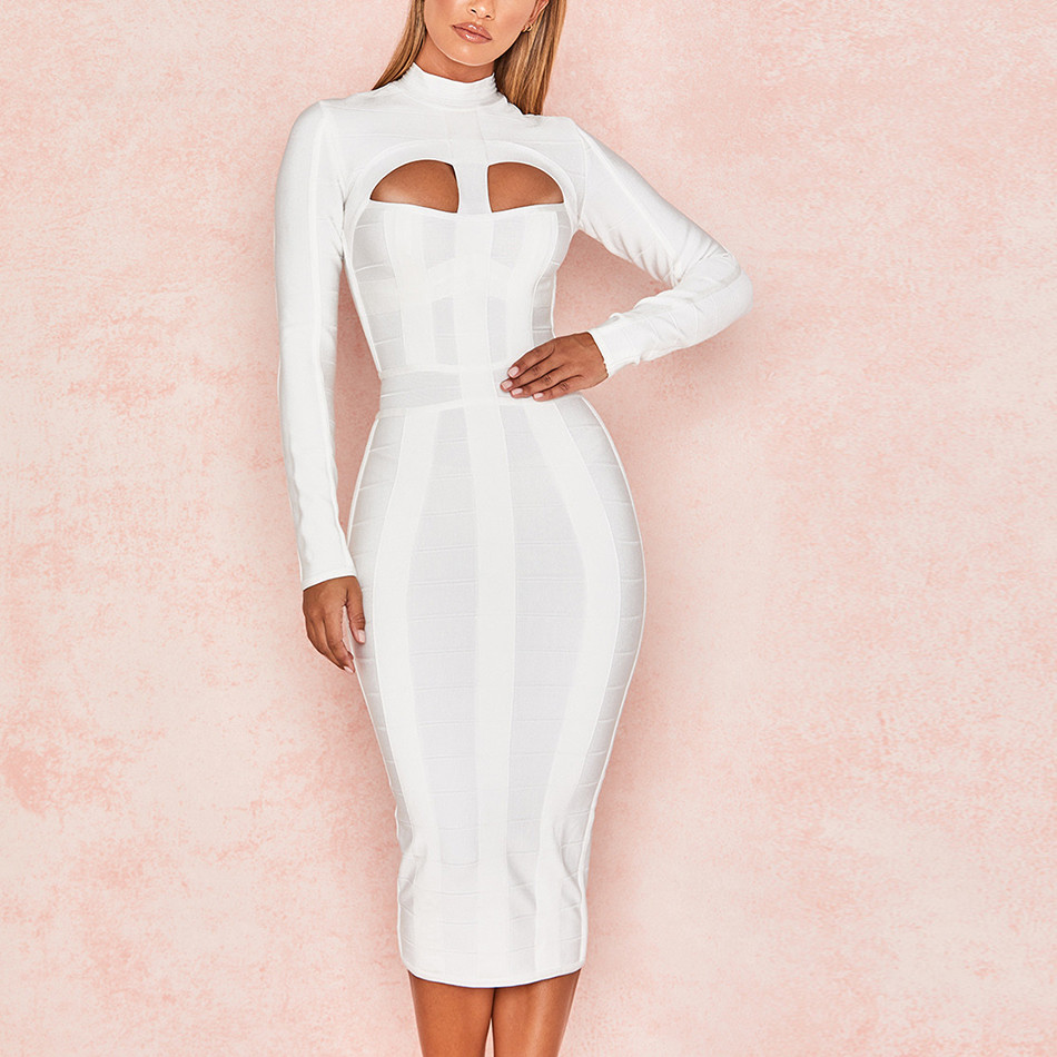 Evening Party Bandage Dress 2018 Spring Summer Women White Fashion Celebrity Ladies Clothes Sexy Club Dresses