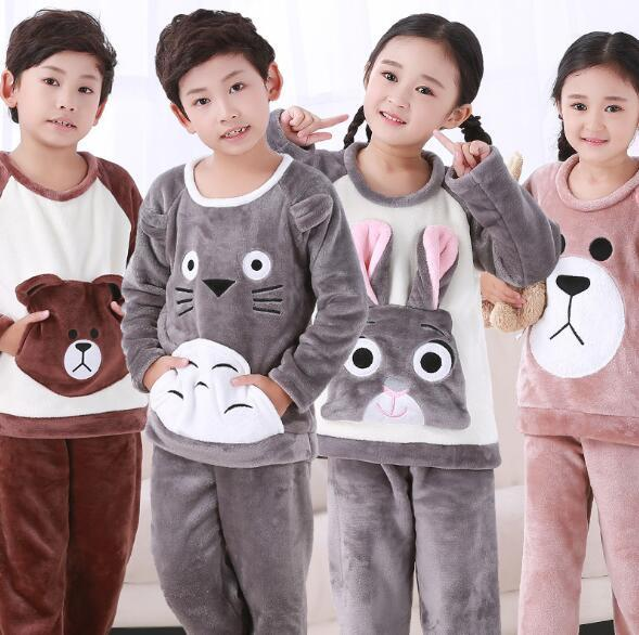 الفتيات الشتاء ملابس خاصة منامة الأطفال ملابس طويلة الأكمام بيجامات للأطفال مجموعات لينة الفتيان طويلة الأكمام Homewear ملابس نوم الطفل