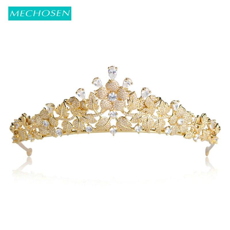 MECHOSEN Top Quality Wedding Bridal Bridesmaid Gold Color Water Drop Flower Cubic Zirconia Women Tiara Crown / Headband For Prom