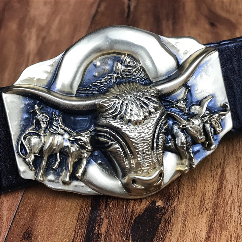 Bull Belt Buckle Thick Genuine Leather Belt Men Jeans Belt Male Strap Ceinture Homme Cinturon Hombre