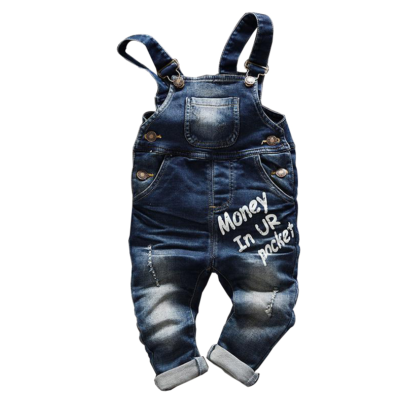 Бесплатная доставка 2018 весна-осень для маленьких мальчиков комбинезоны комбинезон детские джинсовые штаны Комбинезон для малышей, детская... ...