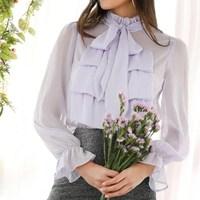 2019 Summer Purple Tie Neck Jabot Collar Semi Sheer Ruffle Women Shirts Bow Vintage Long Sleeve Elegant Blouse