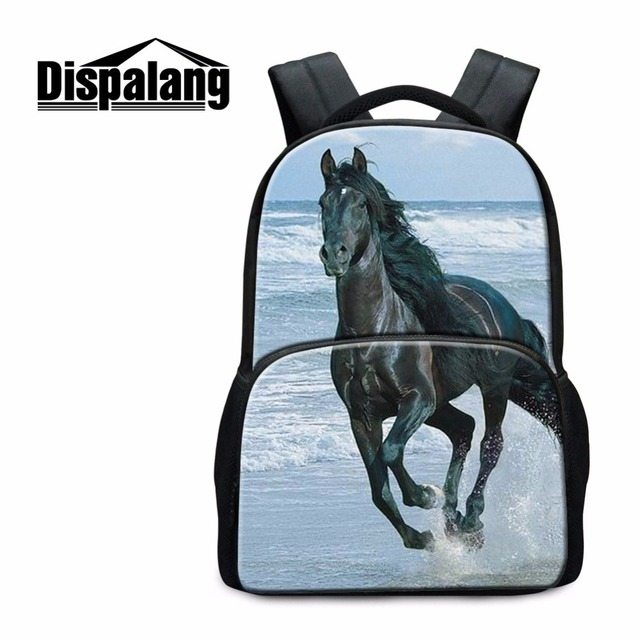 5decba2763db Dispalang лошадь Рюкзаки для Средняя школа Студенты Прохладный животного  Bagpack для подростков Обувь для мальчиков модные