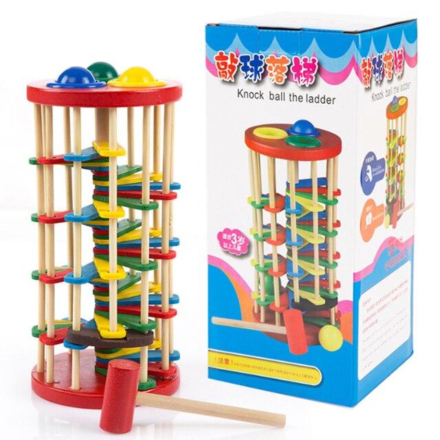 Детские Игрушки Развивающие Игрушки Многоцветной Мяч Лестница Игрушка Стучать Деревянные Игрушки для Детей