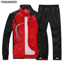Yihuahoo tracksuit 남자 4xl 5xl 2 2 조각 의류 세트 캐주얼 후드 티 운동복 sweatsuit 트랙 정장 여성 MS 8558