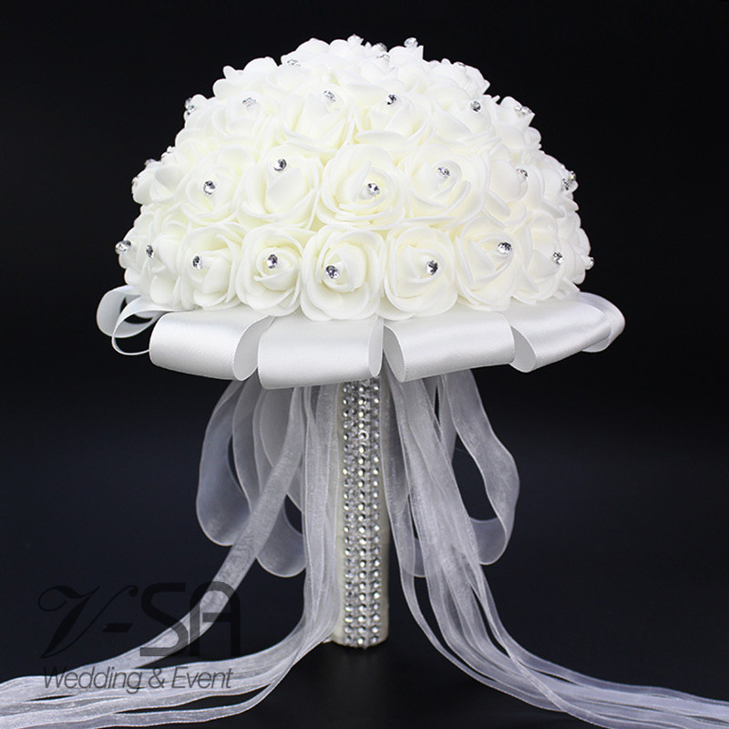 -2016-Top-Quality-Withe-Rose-Flowers-Wedding-Bouquet-With-Crystals-Satin-Ribbon-Ramo-Novia-Bridal_