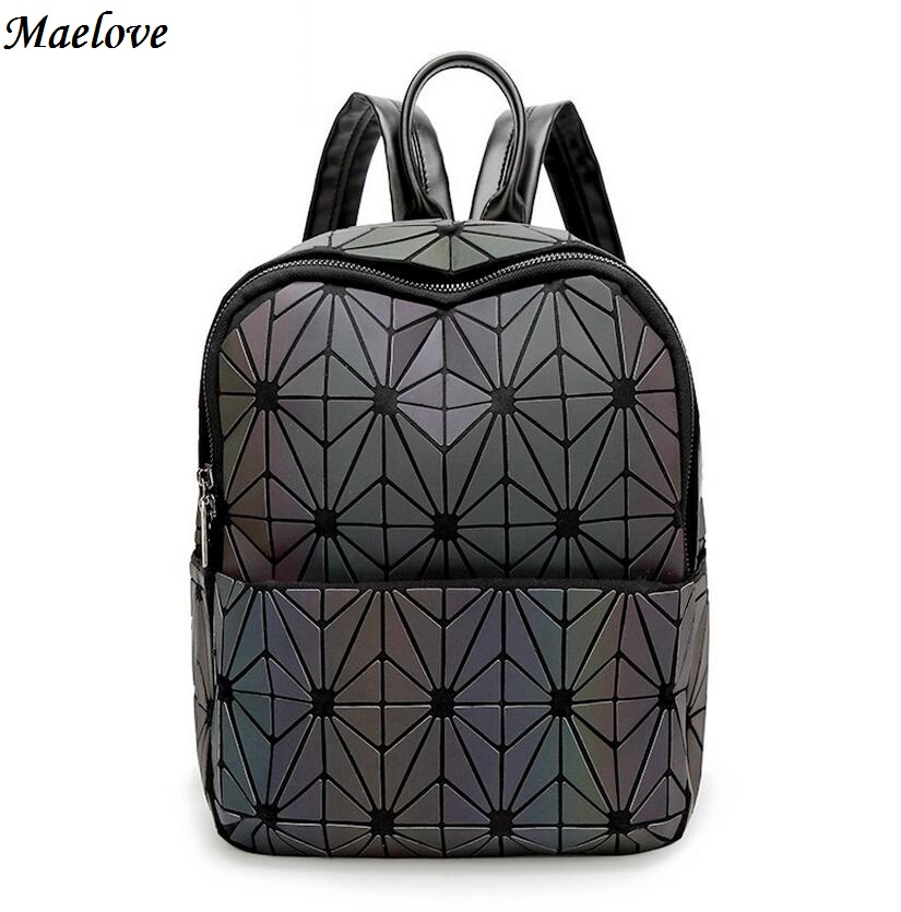Maelove Luminous backpack 2017 New Vintage women backpack geometry lattic shoulder bag school Free Shipping