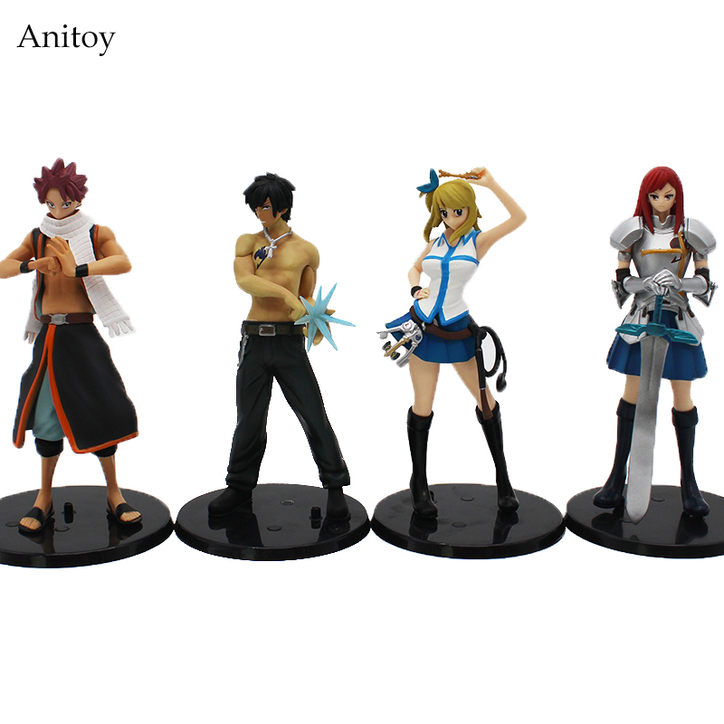 цены Anime Fairy Tail Lucy Heartfilia Erza Scarlett Grey Fullbuster Natsu Dragnir PVC Figure Collectible Model Toys 15cm