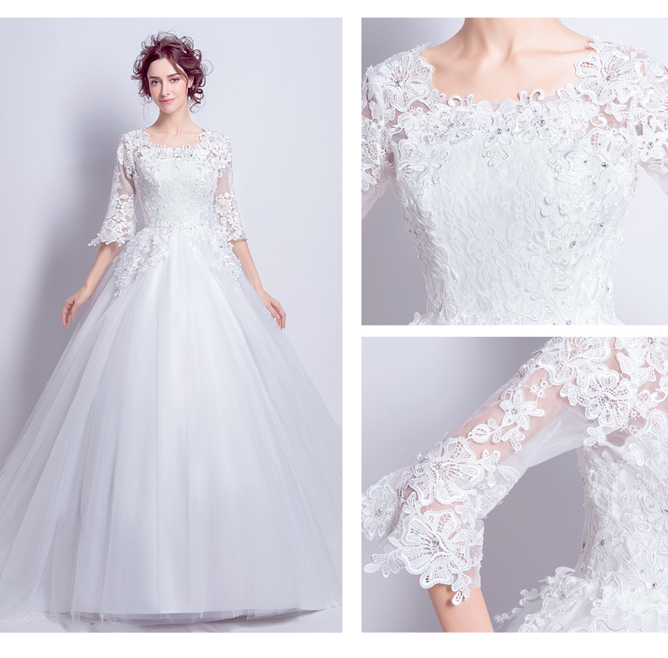 Angel Wedding Dress Marriage Bride Bridal Gown Vestido De Noiva 2017 Boat Neck horn sleeve, big tail 6910 11