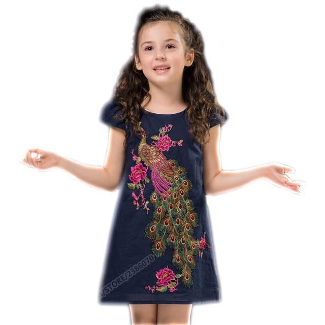 Baby Girls Clothing Christmas Dresses Kids Embroidery Princess Dresses Kid Peacock Prom Dresses Summer Dresses For Girls