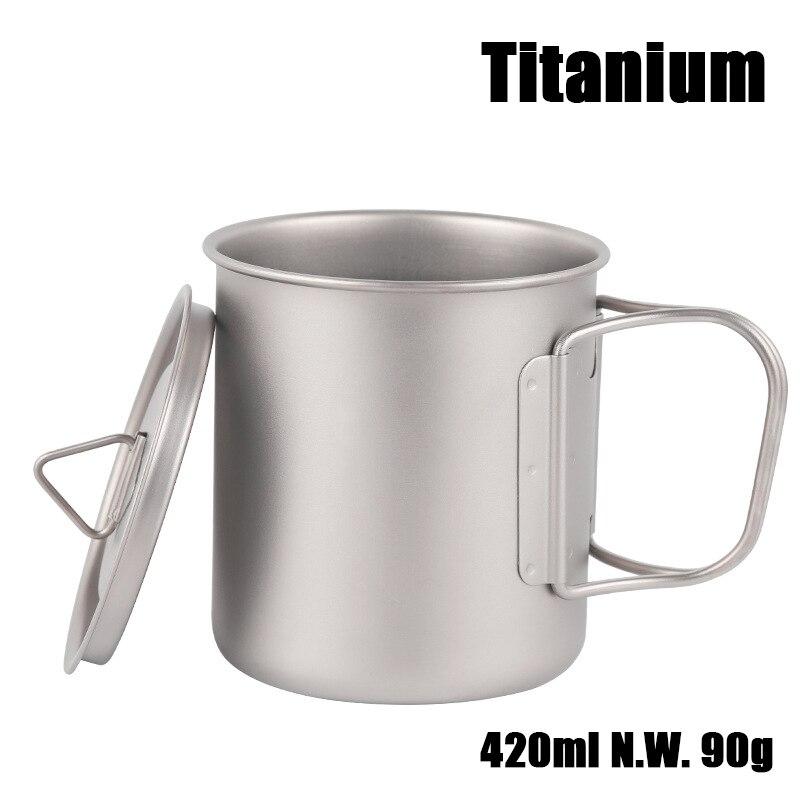 Ultra-léger extérieur randonnée Camping pique-nique titane Pot tasse bol 3 in1 léger tasse Camping équipement 420 ml