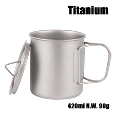 цена на Ultralight Outdoor Hiking Camping Picnic Titanium Pot Mug Bowl 3 in1 Lightweight Cup Camping Equipment 420ml