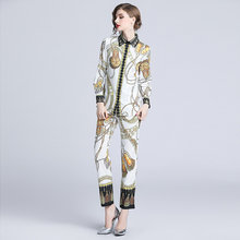 High Quality Fashion Designer Runway Suit Sets 2019 Autumn Women's Long Sleeve Pattern Printed Blouse + Pants 2 Piece Set Women(China)