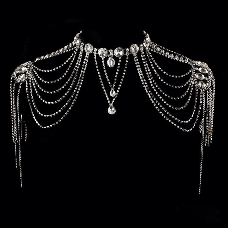 JaneVini 2018 Luxurious Crystal Bridal Shoulder Chain Bling Rhinestone Wedding Necklace Women Shoulder Tassel Chains Jewelry gorgeous rhinestone geometric bead chain tassel necklace for women