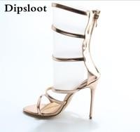 Neue Art Und Weise Rose Gold Leder Schnallen Frauen Sexy Sandale Ausschnitt stil Damen High Heels Reißverschluss Zurück Weiblichen Stiletto Heels Größe 42