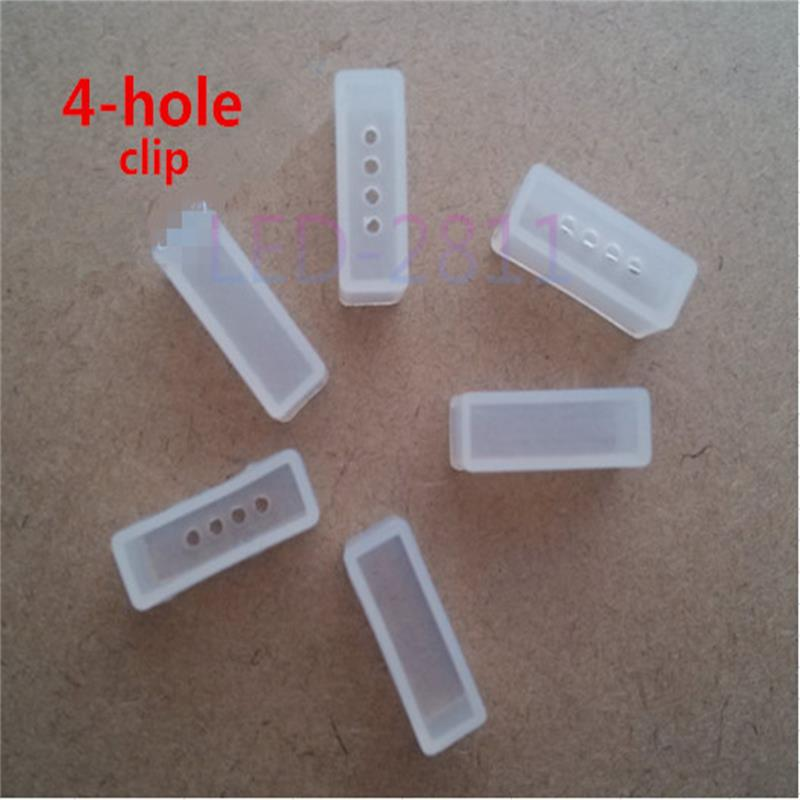 1000 Pcs Silicone Clip, End Caps Use For Waterproof Silicone Tube Smd 5050 Ws2801 Ws2811 2812b Rgb Led Strip Light Non-2--4 Hole