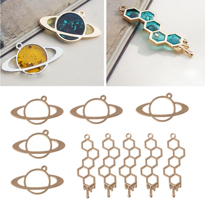 5Pcs New Jewelry Frame Honeybee Planet UV Frame Pendant Open Bezel Setting UV Resin Jewelry DIY