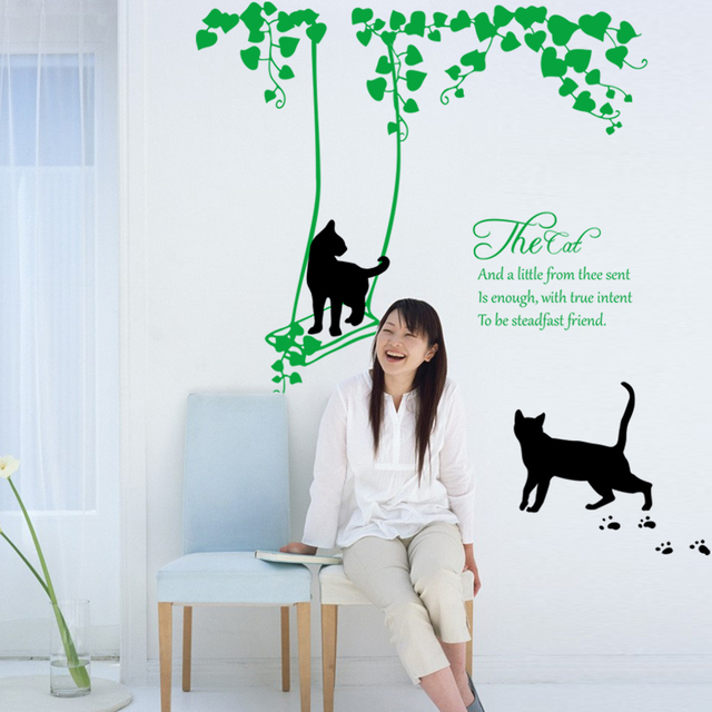 Cartoon black cat cute diy vinyl wall stickers valentines day decor art decals 3d wallpaper decoration
