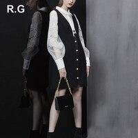 RG Formal Business Blouse Long Vest Dress Suits White Embroidery Decoration Shirt Black Dresses 2 Piece Set Suit Autumn 2018