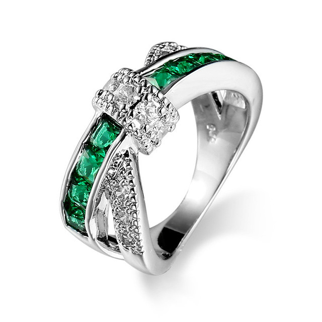 Men Green Stone Cross Ring Fashion White Gold Filled Jewelry Vintage