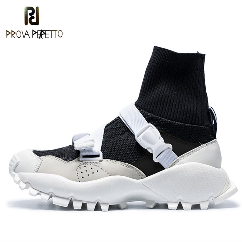 Prova Perfetto New Womens Brand Shoes Fashion Buckle Mesh Breathable Sneakers Women High Top Ankle Sock Boots Flats Casual Shoes цены