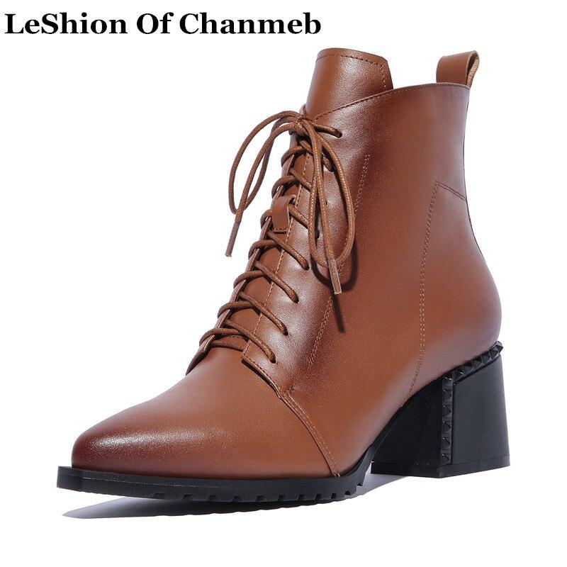 Automne black Taille Réel Boots Boots Chaussures brown Moto Noir Cuir Souple Hiver Grand Boots No Robe In Bottes Black Plus De Cheville Dames Dentelle Femmes En Up Tan 42 Plush qq0apn4