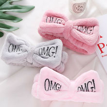 New LetterOMG Coral Fleece Soft Bow Headbands For Women Girls Cute Hair Holder Hairbands Bands Headwear Accessories