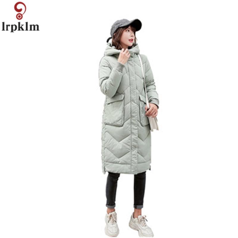 Blanc Veste D'hiver Femmes Manteaux Longs Femme Coréenne Coton Rembourré Vestes D'hiver À Capuchon Manteau Poches Solide Femmes Vêtements CH615