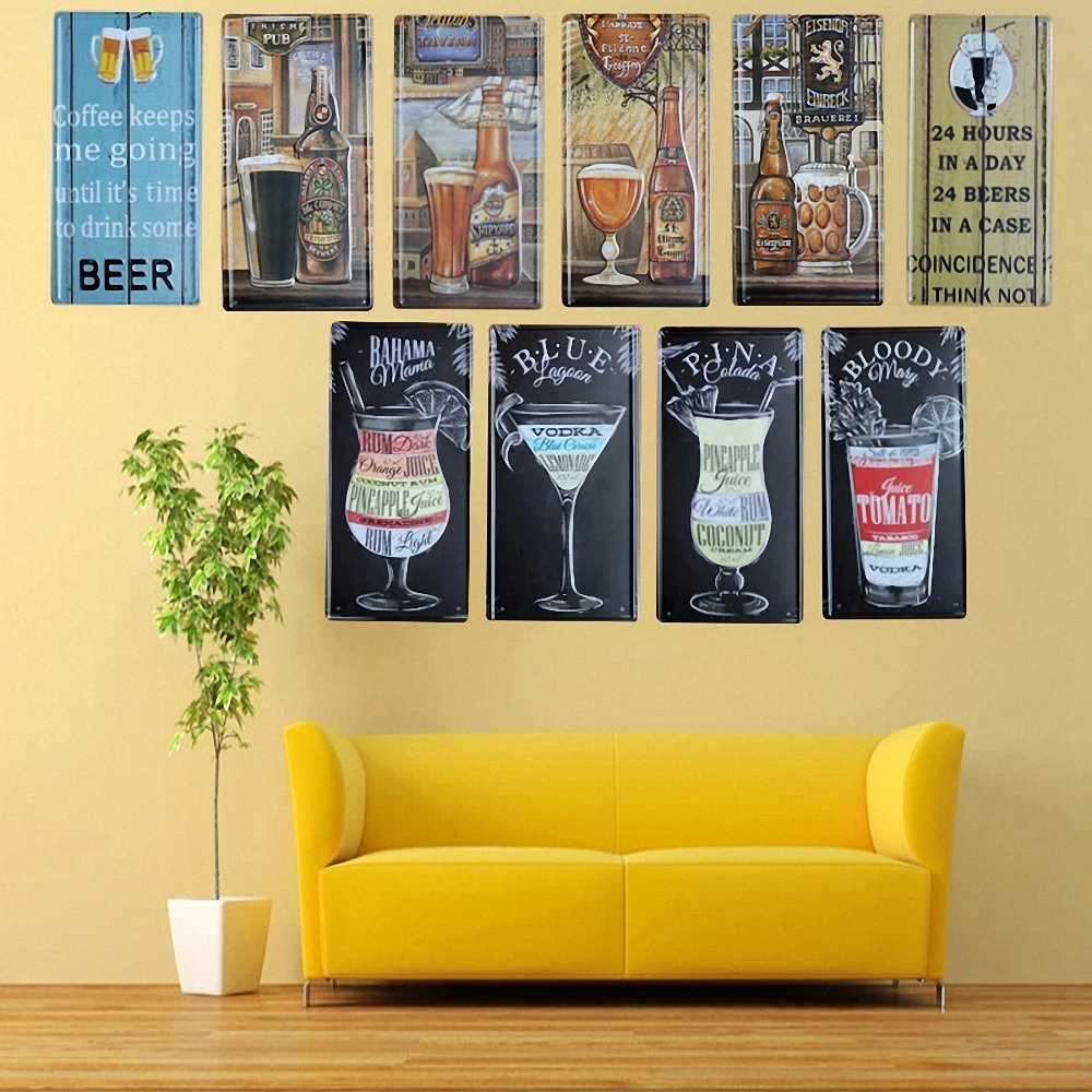 14 style Tinplate retro metal wall stickers posters decorative ...