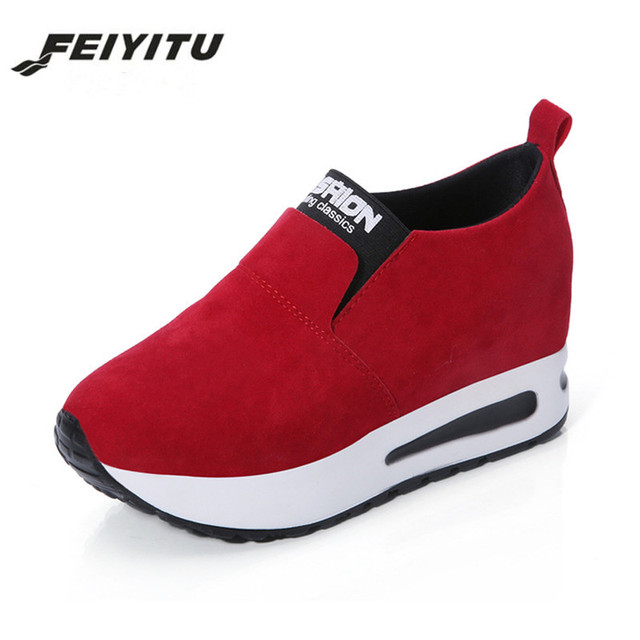 The increase in the slope with thick soled shoes embroidered shoes