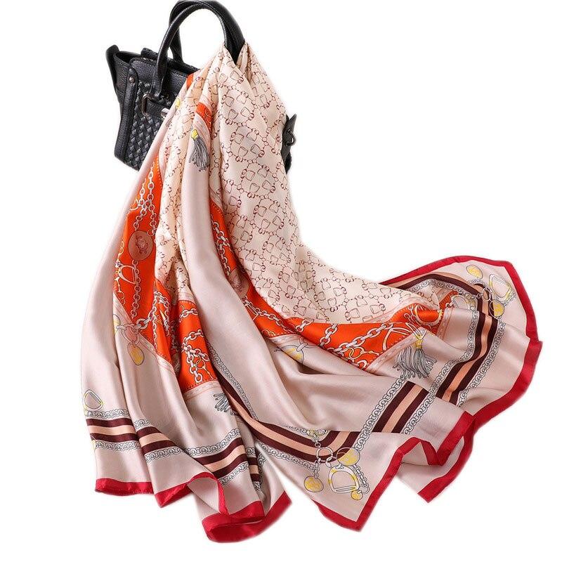 2019 summer new silk   scarf   for women long size pashmina lady shawl female   wraps   bandana foulard hijabs print soft beach stoles