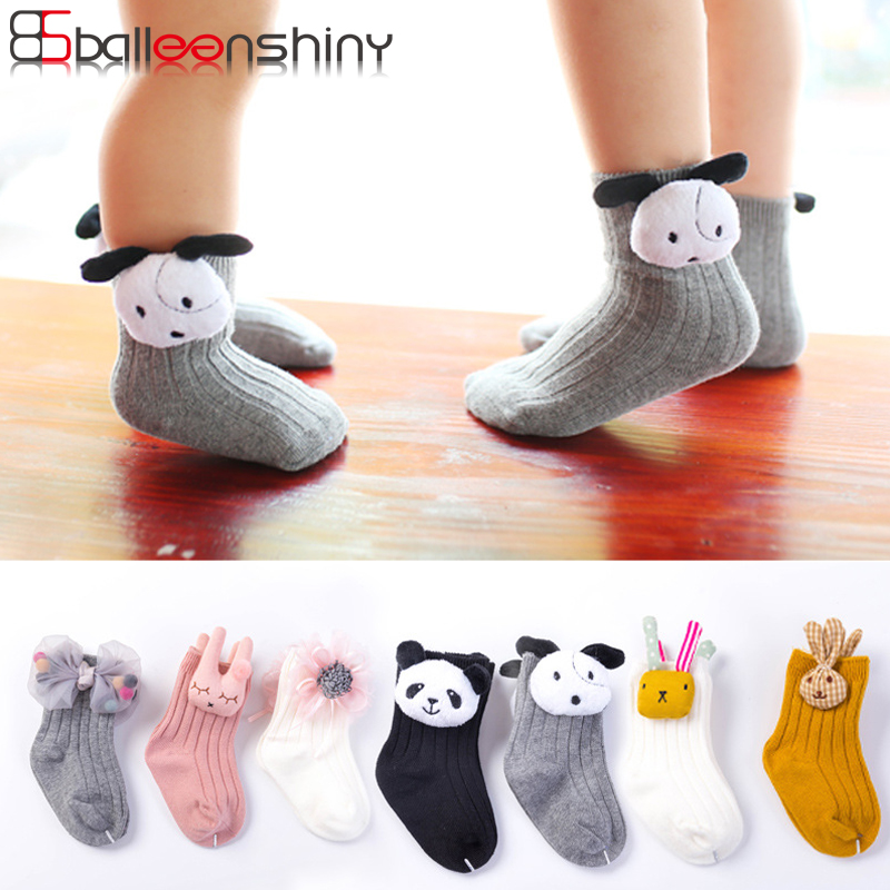 BalleenShiny 2 Pairs 3D Cartoon Animal Socks Baby Boys Girls Fashion Cute Cotton Socks For Children Kids Gift Box Autumn Winter