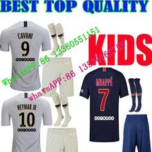 18 19 MBAPPE Maillot psg crianças kit jérsei de futebol 2018 2019 casa azul  longe branco 0ff8932ba4076