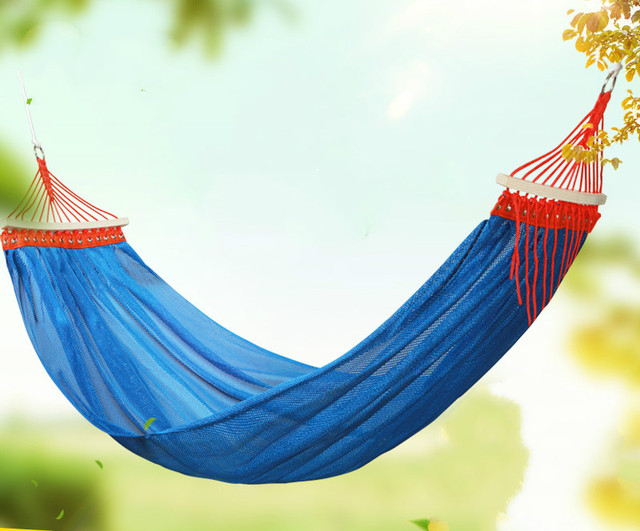 Practical portable high quality anti rollover single person hammock swing outdoor double person mesh hammock strong and durable