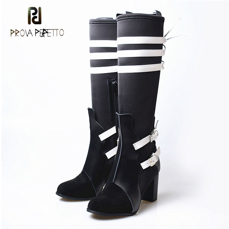 Prova Perfetto suede leather+lycra women knee high boots mixed color belt buckle long boots round toe square heel stretch boots long side bang mixed color tail adduction stunning cosplay lolita synthetic wig for women