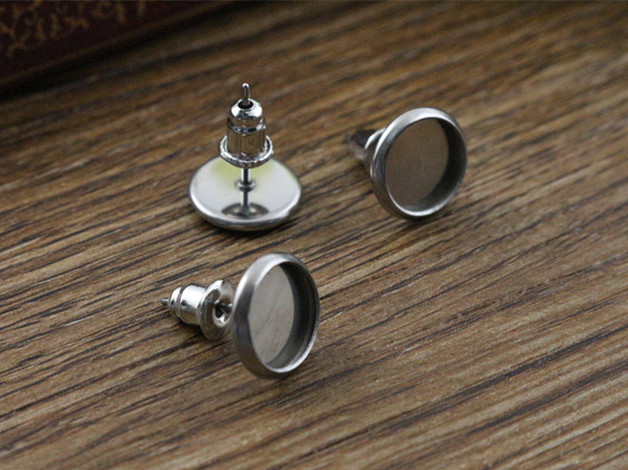 (Never Fade) 20pcs 8mm Stainless Steel Earring Base Studs Ear Cameo Settings Cabochon Base Tray Blank (With Back)-M4-01 never fade 10pcs fit 30mm cabochons stainless steel tooth cameo setting cabochon base copper high quality blank tray bezel t7 36