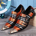 Colorful Striped Metal Pointed Toe Men Wedding Shoes Formal Dress Shoes Flats Party Prom Chaussures Homme Oxfords Creepers