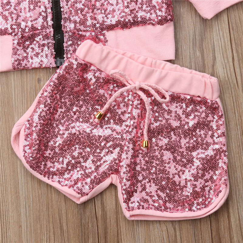 Clothing Sets Pudcoco 2018 New Tollder Kid Baby Clothing Girls Clothes Casual Bling Jacket Tops+shorts 2pcs Set Toddler Clothes Outfit Wild Cx