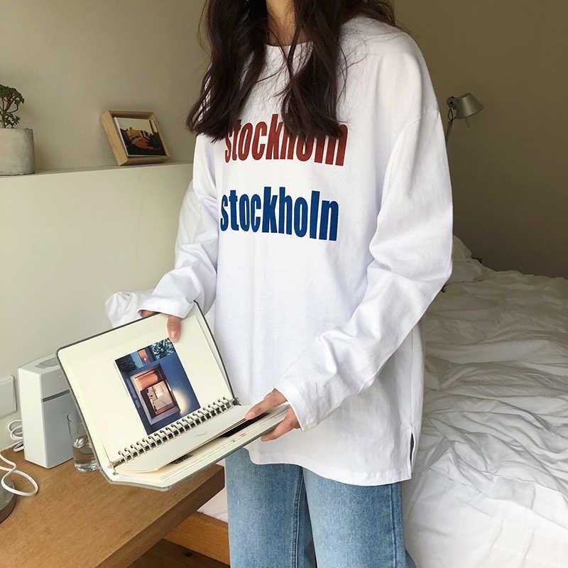 Коллекция 2019 года, Новая Винтажная футболка с длинными рукавами в стиле поп, Корейская версия, свободная Студенческая одежда с странным вкусом для девочек