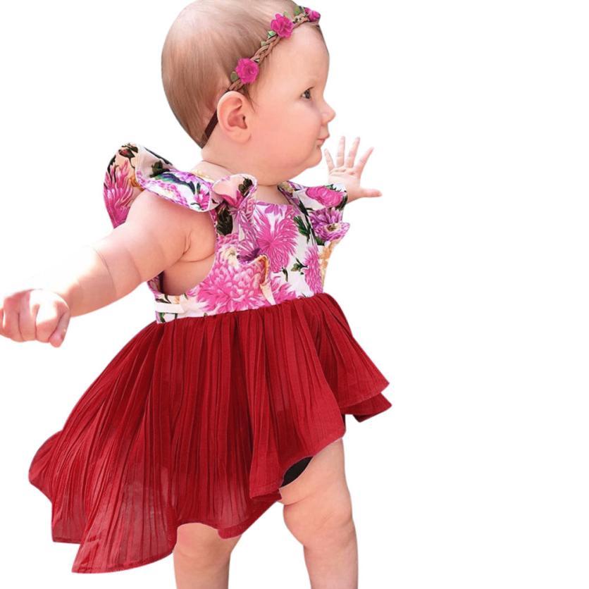 Shaunyging #4003 одежда для малышей девочек Цветочный принт Лоскутная оборками рукавом платье наряды одежда