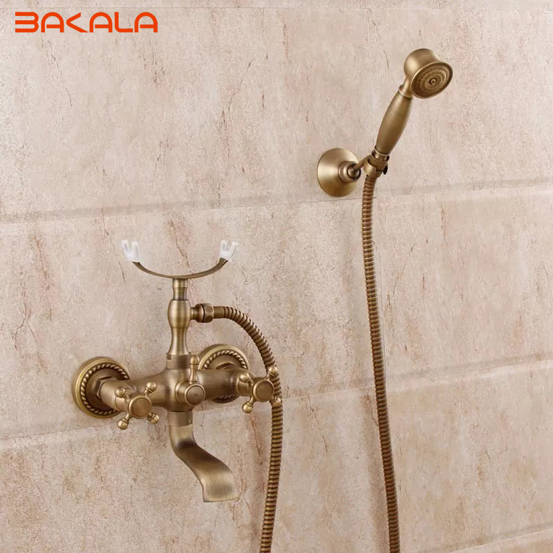 DHL Free Shipping ! Luxury Antique Brass Rainfall Shower Set Faucet + Tub Mixer Tap + Handheld Shower Wall Mounted GZ8305