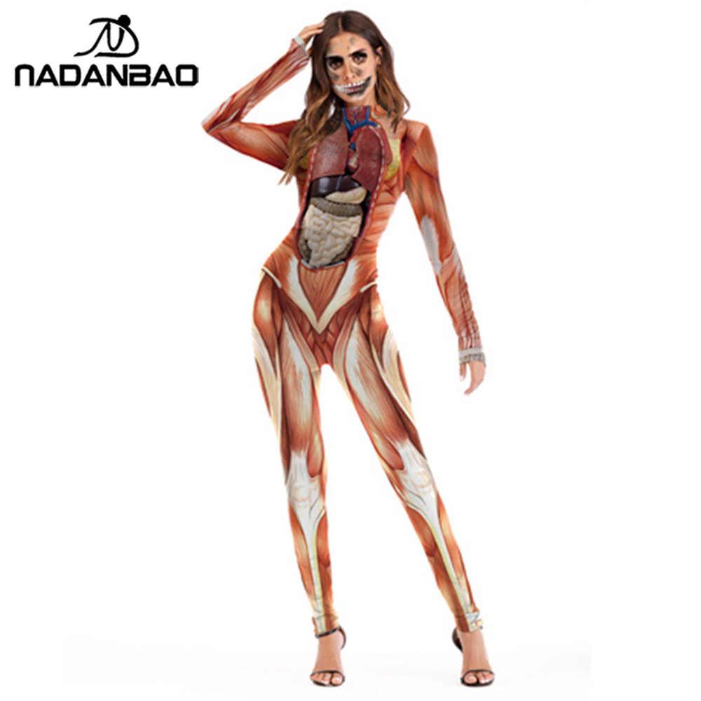 NADANBAO kostium Cosplay Halloween mięśni wnętrzności złoty szkieletowy straszny strój dla dorosłych kostiumy damskie kombinezon body plus size