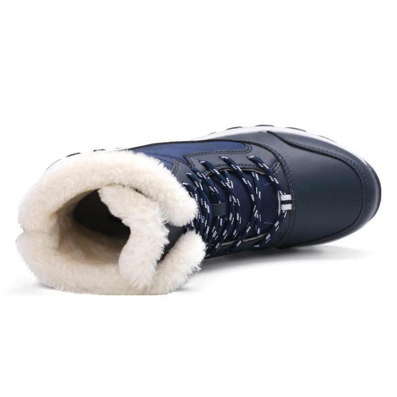 Botas de invierno de piel cálida botas de moda para mujer zapatos de plataforma con cordones botas de nieve impermeables antideslizantes zapatos de mujer Zapatos