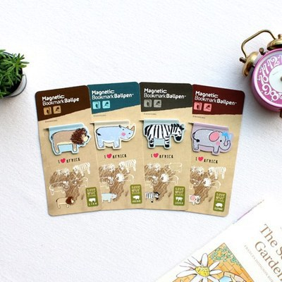 4PCS/LOT African Animal Magnetic Bookmark Ball Pen  African Animal Bookmark   Elephant Lion Zebra Rhino Bookmark Ball Pen
