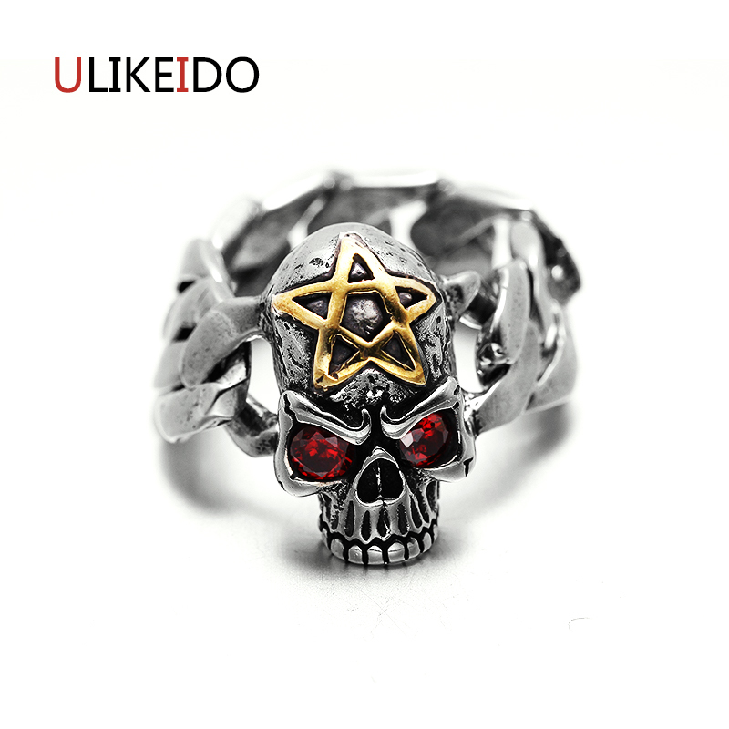 Pure 925 Sterling Silver Jewelry Skull Rings Fashion Chain Stlye Skeleton Star Punk Mens Signet Rings Fine Gift  285Pure 925 Sterling Silver Jewelry Skull Rings Fashion Chain Stlye Skeleton Star Punk Mens Signet Rings Fine Gift  285