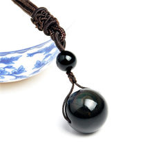 Black Obsidian Rainbow Eye Beads Ball Natural Stone Necklace Pendant Transfer Lucky Love Crystal Jewelry Free Rope For Women Men(China)