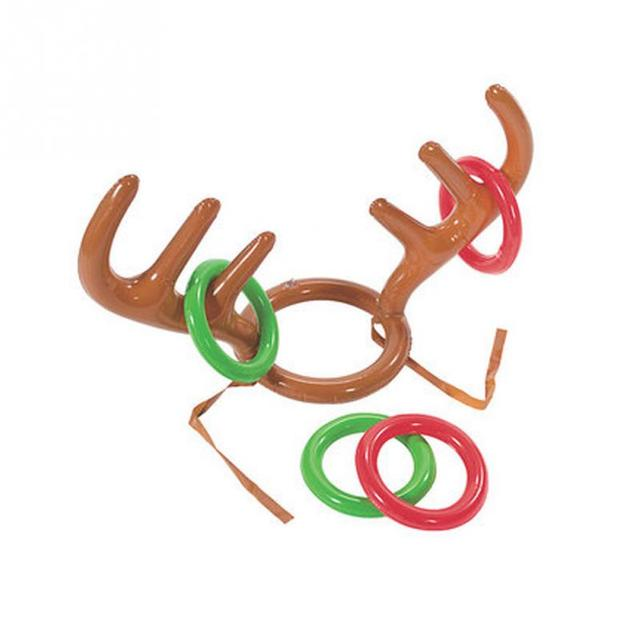 89cfc5b6f8301 Christmas Headgear Toy Holiday Party Game Supplies Toys Inflatable Santa  Funny Reindeer Antler Hat Ring Toss